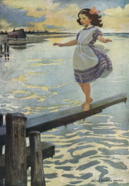 Little Emily walking on a plank. Date: First published: 1849-50