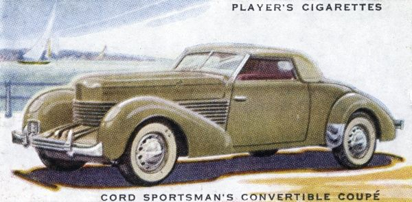 The Cord Sportsman's Convertible Coupe - an upmarket sports car selling for L875, which is kinda pricey... Date: 1937