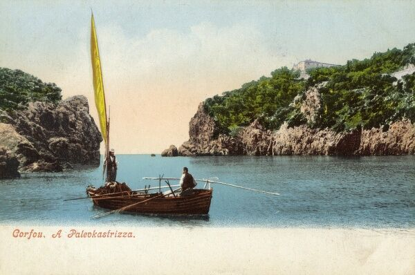Corfu - Greece - The Monastery of Paleokastrica (Paleokastritsa) - visible (rather small) at the top right of this card. Date: circa 1903