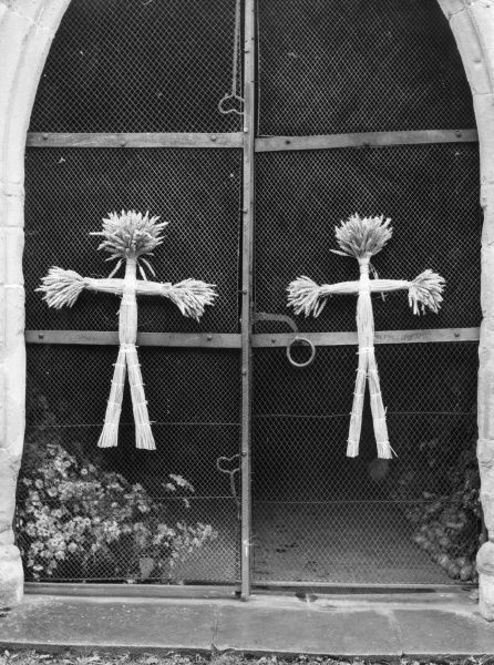Corn Dollies at Dymock church, Gloucestershire, England. This pagan symbols are still used in modern Christian churches as thanks for a fruitful life. Date: August 1963