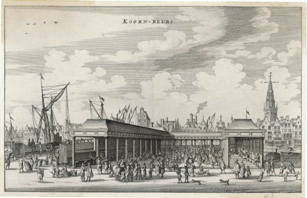 A view of the Koornbeurs or corn exchange - a place of great activity with merchants and tradespeople selling their wares from barrows. Oude church & docks can be seen