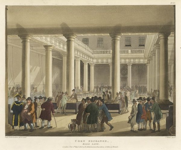 The Corn-Exchange, Mark Lane : the corn-factors stand behind their tables on which several handfuls of corn are displayed for buyers to examine. Date: 1808