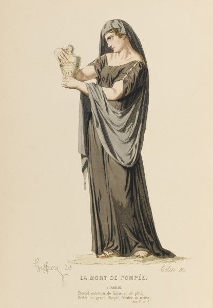 'LA MORT DE POMPEE' Cornelie, widow of Pompee, with his ashes in an urn