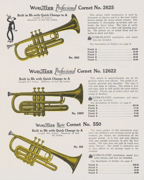 Three Wurlitzer cornets