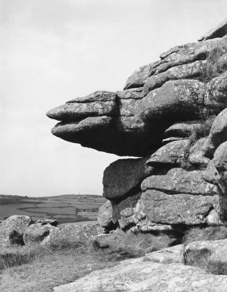 A rock formation seen at Trencom, Cornwall, England. Date: BC