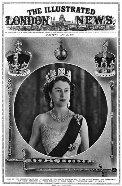 Secondary front cover of the ILN featuring a photograph of the soon-to-be crowned Queen Elizabeth II surrounded by crowns, orb, sceptre and other ceremonial paraphenalia. Date: 1953