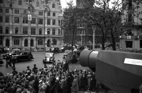 The BBC camera on a dais in front of the Coloniual Office in Queen Victoria Street. 1953