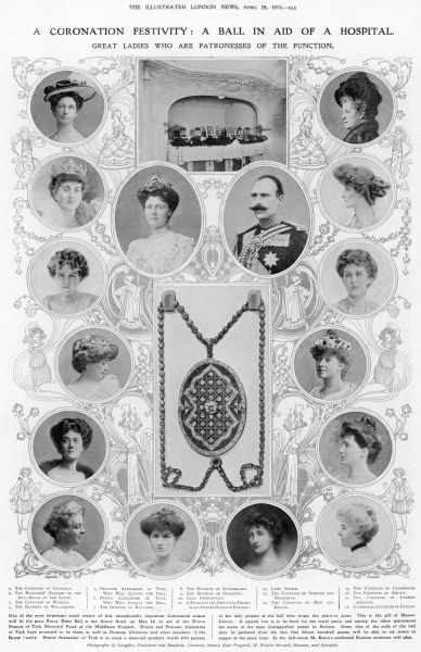 The Prince and Princess of Teck and the ladies who are patronesses of the function, a fancy dress ball at the Savoy Hotel in aid of the Prince Francis of Teck Memorial Fund of the Middlesex Hospital