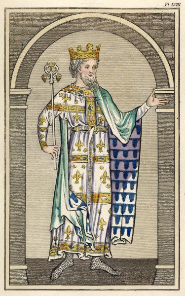 King in his Coronation Habit: long, highly ornate tunic with magyar sleeves worn with a buckled girdle, green mantle with decorative lining & soled hose