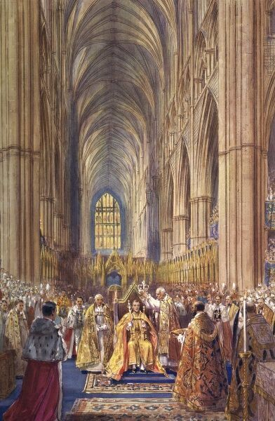 Impression of the coronation of King Edward VIII showing the moment the king is crowned