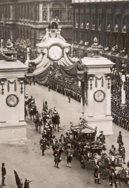 The Royal Coach containing King George V and Queen Mary in Whitehall on the return journey to Buckingham Palace