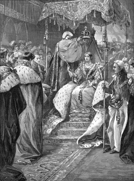 Engraving showing the Coronation of Queen Victoria at Westminster Abbey, 28th June 1838