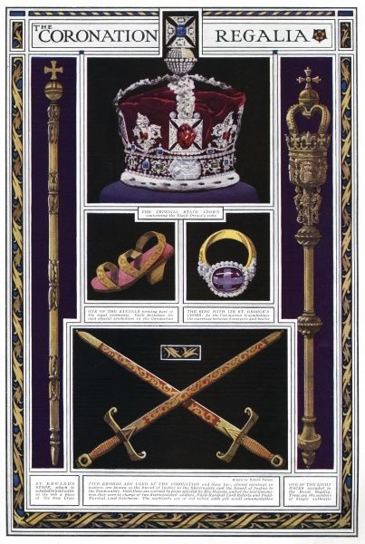 The illustration includes the Imperial State Crown, the St. Edward's Staff, one of the eight maces, swords, a sandal of the regal vestment and the ring that has a St. George's cross. Date: 1937