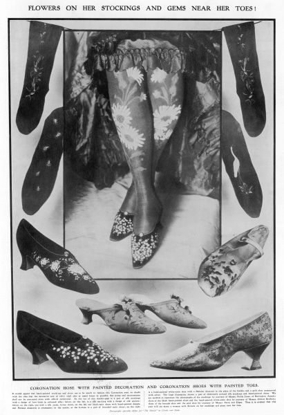 Hand painted stockings and shoes - all the rage in the Coronation year of 1911