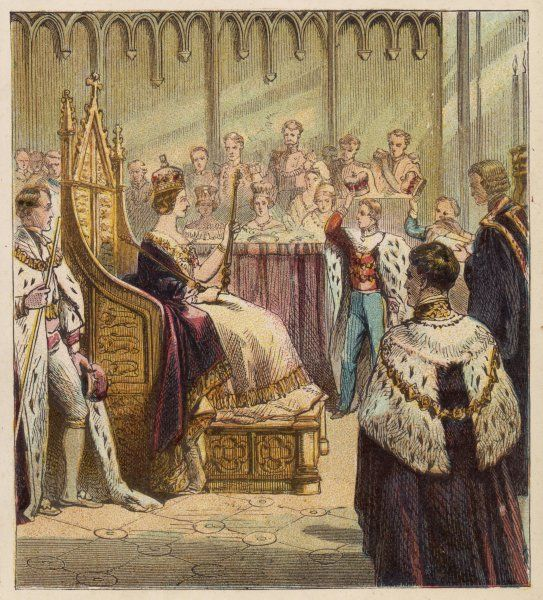 The coronation of Queen Victoria at Westminster Abbey