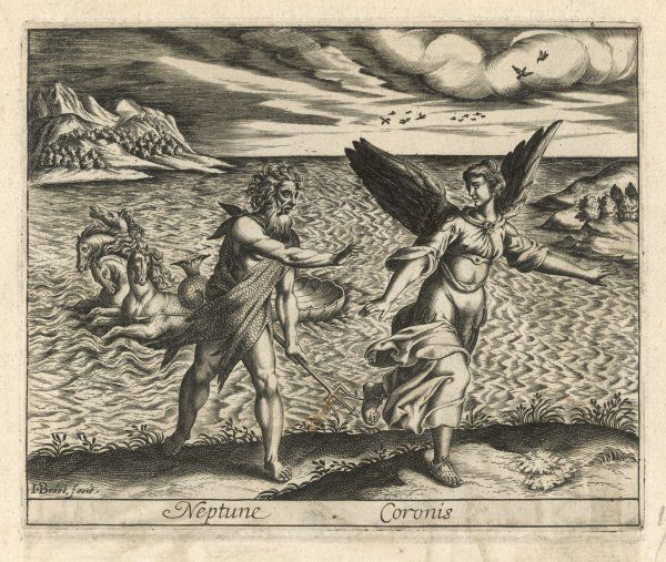 Coronis, daughter of Coronaeus king of Phocis, flees from amorous Poseidon/Neptune, and is saved by being turned into a crow by Athene (don't confuse Coronises)