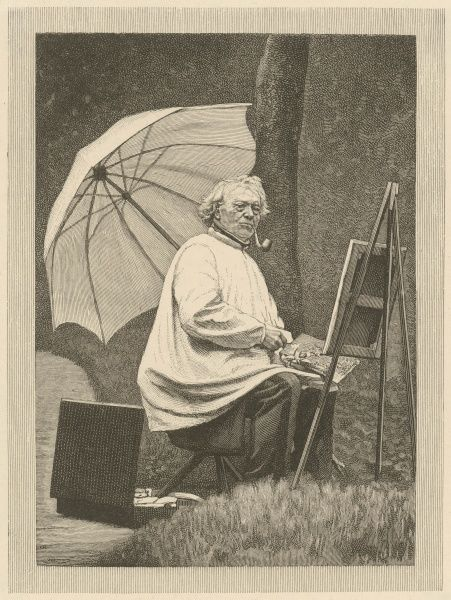 JEAN-BAPTISTE COROT French artist, seen at work in the open air