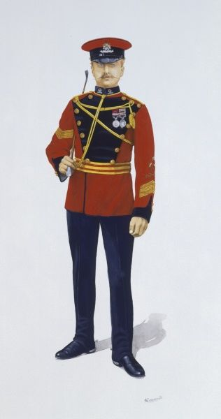 Corporal of The 16th The Queen's Lancers - the medals worn are the India Medal (2 bars)and the Distunguished Conduct Medal. Proficiency is marked by 3 Good Conduct Stripes on the left arm and badges for Swordsmanship and Lance Proficiency