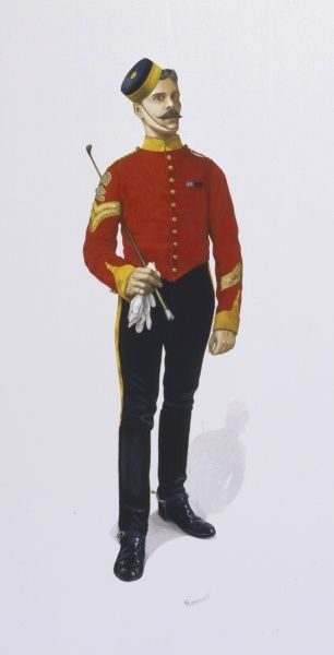 Corporal (Farrier) - 3rd Dragoon Guards (Prince of Wales's) wearing medal ribbons - Egypt Medal (1882-89) and Khedive's Star (1882-89)