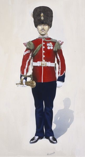 Corporal - drummer. Royal Welsh Fusiliers (1903-4) in Full dress. Painting by Malcolm Greensmith