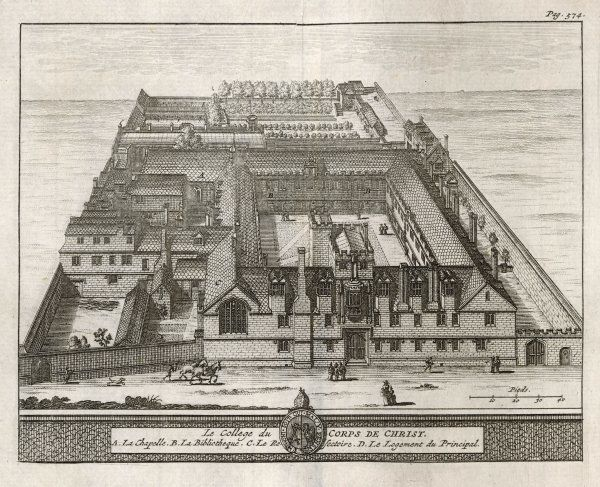A bird's-eye view of the college showing the chapel, dining hall, library,the Dean's lodgings & the formal gardens. One of 39 engravings made of Oxford Colleges by Loggan