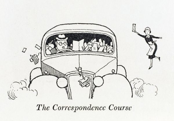 Learning to drive by Correspondence Course. Please note: Credit must appear as (c) Courtesy of the estate of Mrs J.C.Robinson/Pollinger Ltd/Mary Evans Picture Library