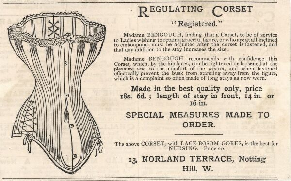 Advertisement for Madame Bencough's Regulating Corset