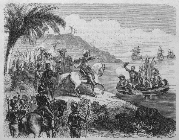 Cortes and his men embark from Cuba to Mexico