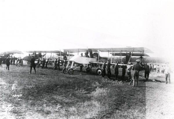 A Cossack air squadron with French Voisin biplanes at Rostov in the Don District, Russia, towards the end of the First World War. Date: September 1918