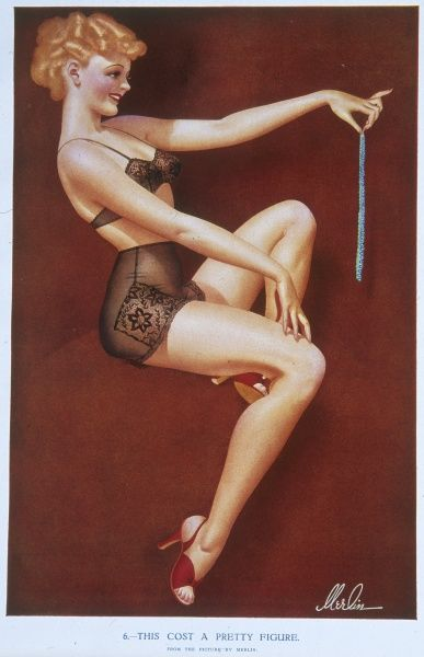 Pin up girl by Merlin Enabnit (1903-1979) posed provocatively in her underwear while examining a string of pearls
