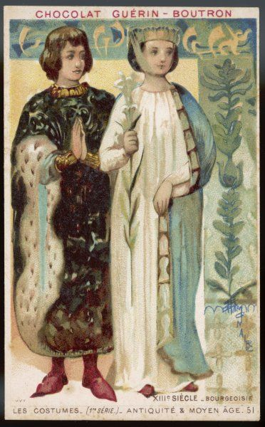 A medieval middle-class couple, both richly dressed; she carries a lily; he wears brocade and ermine