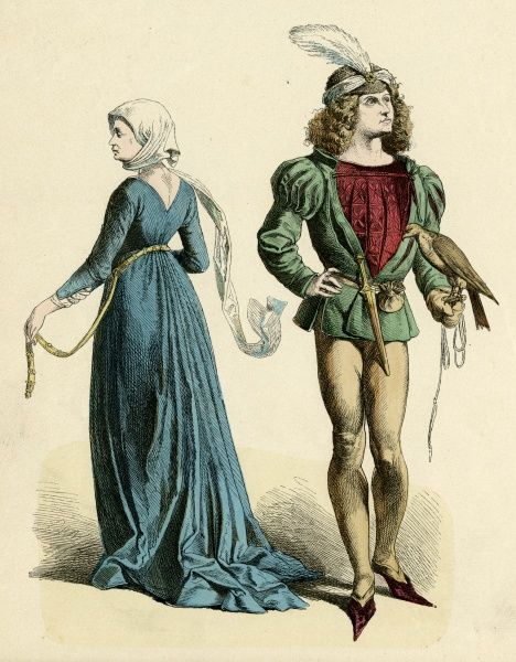 Male & female costume of the late 15th century - he wears a purse & dagger at his waist & holds a bird of prey, she wears a blue gown with gold belt. Date: circa 1475