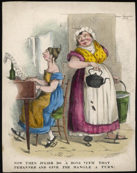 A working girl imitates the genteel accomplishments of young ladies. Her dress is low cut with puffed sleeves & is worn with a coarse apron. Both women wear pattens