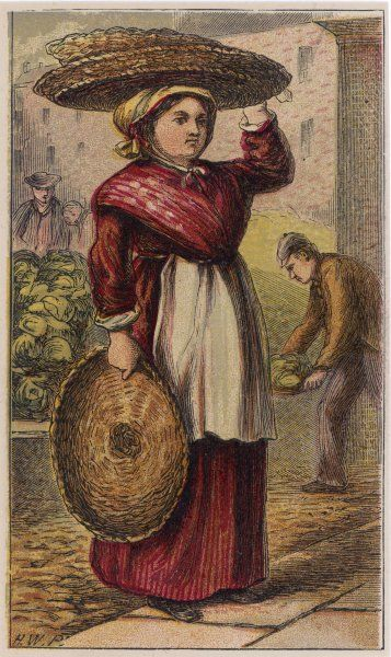 A London basket seller in a plain brown dress with white apron, a red scarf or shawl wrapped over her shoulders & a cotton bonnet