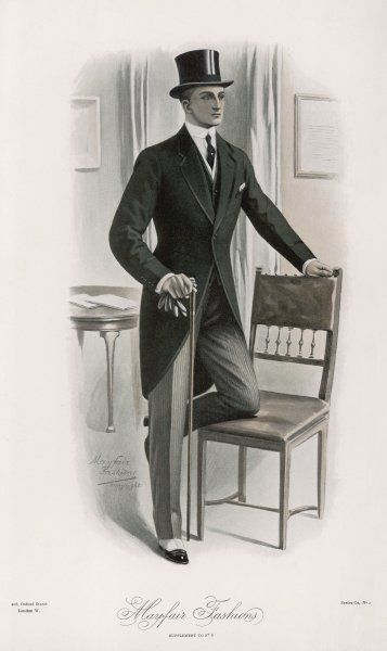 Formal dress clothes for a daytime function: a braid trimmed morning coat - the 'Mayfair', narrow grey striped trousers, spats, stiff collar & tie, gloves, cane & top hat