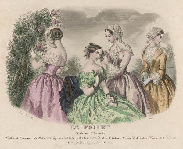 Green floral print dress; pink dress with a lace bertha; open corsage, chemisette & 3/4 sleeves with engageantes; lace caps with lappets; coiled hair with gold comb, plume & pearls