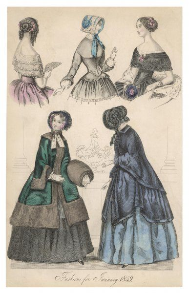 Two gowns with lace berthas, one with a caraco bodice; two outdoor garments possibly mantles, one trimmed in brown fur with a matching fur muff