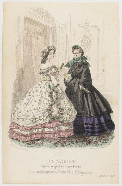 Ball / evening dress: pink & white ruched edged flounces, over-skirt hitched up at the sides & ornamented with pink roses. Black pardessus with pagoda sleeves
