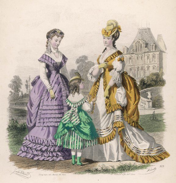 Purple polonaise worn over a habit-shirt; white & gold polonaise with triple skirt & open tunic. Girl: triple skirt, over-skirt hitched up at the back with a sash bow
