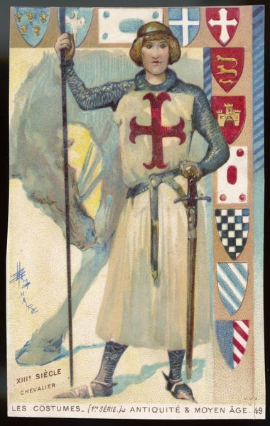 A chevalier of the Crusades, in chainmail and white tunic with red cross; he carries a spear and a heavy sword