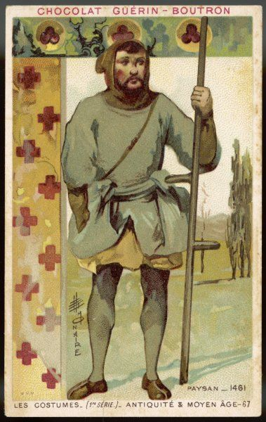A peasant in plain grey-green tunic and brown hood