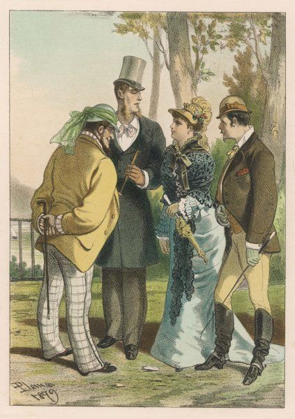 A fashionable lady in a black lace mantlet or pelerine is surrounded by male admirers in frock coat & top hat, riding dress or checked trousers & helmet hat with scarf