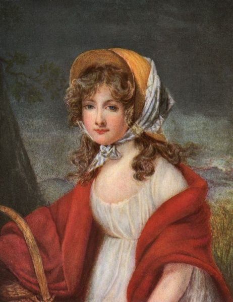 A young, unknown blonde woman in a simple, white muslin gown, red shawl and straw bonnet sits in a landscape setting holding a basket. Date: circa 1800