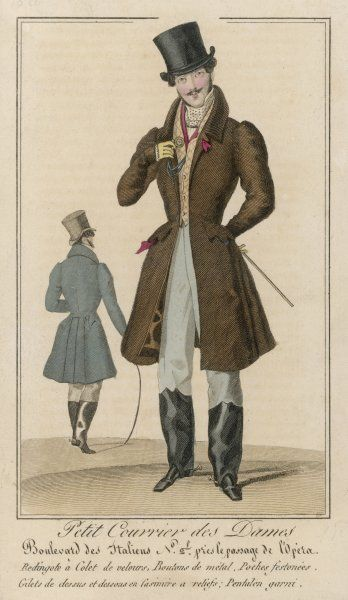 Brown coat: velvet collar, hip pockets & pocket flaps & knee length skirts; waistcoat with a diamond pattern & protective coverings strapped beneath the instep & covering the calves