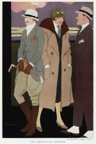Man: brown tweed suit, bowtie, trilby & spats. Women: riding habit of grey jacket with sloping front borders, bowler hat, cravat & crop or cap & goggles & fur lined greatcoat Date: 1919