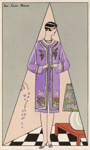 Paul Poiret creation: collarless purple wool coat bordered in gold & white & with a bold floral design on the chest & hem