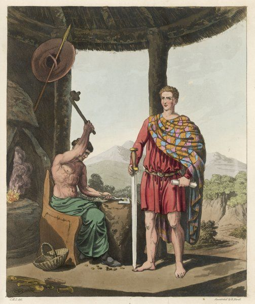 A Romanised Briton who has adopted the Roman lifestyle, and a ferrylte (blacksmith) who hasn't