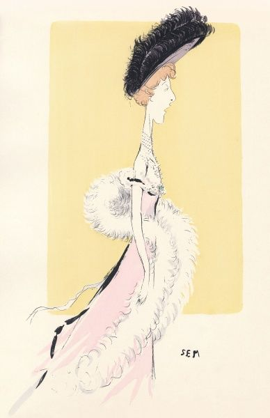 Depicted in caricature actress Liane de Pougy illustrates the current silhouette with extra height suggested by the plumed picture hat & trained skirt. A white feather boa is also worn Date: 1901