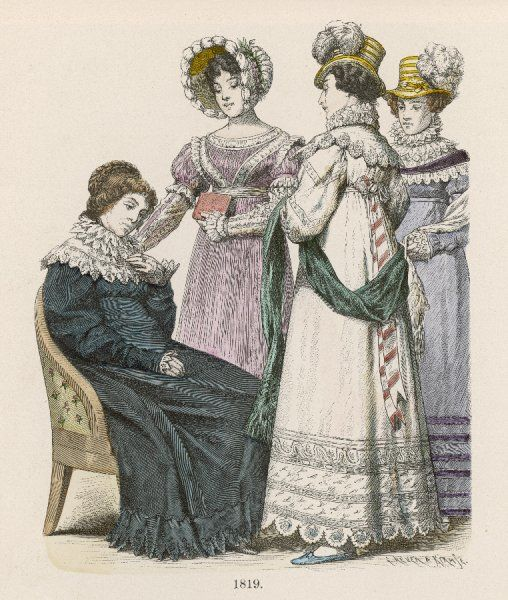 4 gowns of 1819: 3 have large ruffs with vandyke or scallop edged pelerines or collars. 1 gown has a gallo-greek bodice. All hems have decorative bands or edging