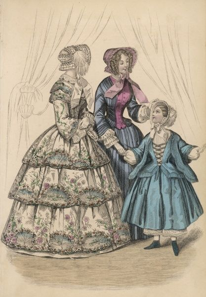 Dresses: white with large floral design printed to fit the 3 flounces -'flounces a disposition'; blue edged with black stripes & waistcoat style front in a contrasting fabric